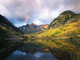 Maroon Lake, View of Autumn Aspens, White River National Forest, Colorado, USA Photographic Print by Stuart Westmorland