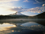 Fisherman, Trillium Lake, Mt Hood National Forest, Mt Hood Wilderness Area, Oregon, USA Photographic Print by Adam Jones