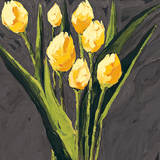 Yellow Tulips on Gray Square Prints by Julia Gilmore