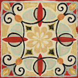 Bohemian Rooster Tile Square II Print by Daphne Brissonnet