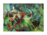 Deer in the Flower Garden Giclée-tryk af Franz Marc