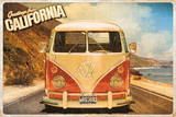 Greetings From California Volkswagen Camper Poster - Resim