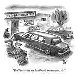 """You'd better let me handle this transaction, sir."" - New Yorker Cartoon Premium Giclee Print by Frank Cotham"
