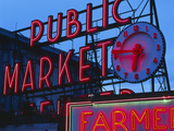 View of Public Market Neon Sign and Pike Place Market, Seattle, Washington, USA Photographic Print by Walter Bibikow