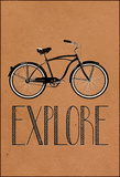 Explore Retro Bicycle Stretched Canvas Print