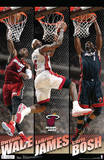 Miami Heat Big 3 Team NBA Sports Poster Posters