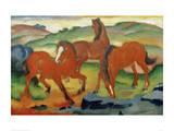 Caballos rojos Lámina giclée por Franz Marc
