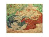 Cats on a Red Blanket Giclee Print by Franz Marc