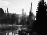Sunbeam and Trees Reflecting in Lake, Mount Rainier National Park, Washington, USA Photographic Print by Adam Jones