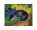 Black and Blue Fox Reproduction procédé giclée par Franz Marc