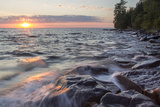 Waves at Sunset, Devils Island, Apostle Islands National Lakeshore, Wisconsin, USA Photographic Print by Chuck Haney