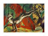 Three cats Giclée-tryk af Franz Marc