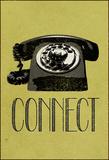 Connect Retro Telephone Reproduction transférée sur toile