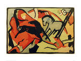 Two Horses Giclee Print by Franz Marc
