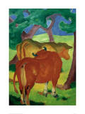 Cows under trees Gicléetryck av Franz Marc