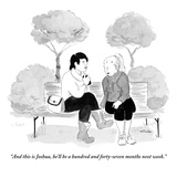"""And this is Joshua, he'll be a hundred and forty-seven months next week."" - New Yorker Cartoon Premium Giclee Print by Emily Flake"