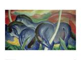 Large Blue Horses, 1911 Reproduction procédé giclée par Franz Marc