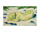 Dog lying in the snow Impression giclée par Franz Marc