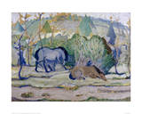 Horses in a Landscape Giclee Print by Franz Marc