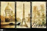 Paris Triptych, Sacre Couer, Eiffel Tower, Notre Dame Poster Posters