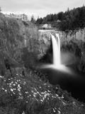 Salish Lodge and English Daisies, Snoqualmie Falls, Washington, USA Photographic Print by Charles Crust