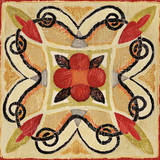 Bohemian Rooster Tile Square I Prints by Daphne Brissonnet