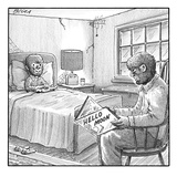 "A werewolf father is reading his werewolf son ""Hello Moon""  - New Yorker Cartoon Premium Giclee Print by Harry Bliss"
