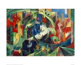 Painting with Cows I Stampa giclée di Franz Marc