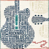 Type Guitar Square II Print by Michael Mullan