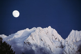 Full Moon over Snowcapped Mountain, North Cascades, Washington State, USA Photographic Print by Peter Skinner