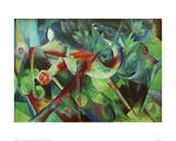 Deer in the Flower Garden Giclee Print by Franz Marc