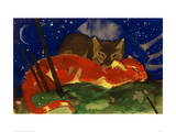 Two Cats 1913 Giclee Print by Franz Marc
