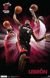 LeBron James Triple Dunk Miami Heat NBA Sports Poster Print