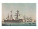 Le Ministre de la Marine Passe en Revue l'Escadre d'Évolutions, 1864 Giclee-tryk i høj kvalitet