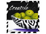 Zebra Bowl Premium Giclee Print by Cathy Hartgraves