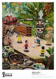 Playing Soccer at Noon Collectable Print by Oscar Oiwa
