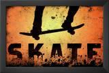 Skateboarding Skate Orange Sports Poster Print Posters