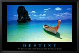 Destiny Boat on Beach Motivational Poster Posters