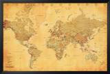 World Map - Vintage Style Posters