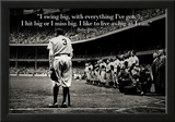 Babe Ruth Swing Big Quote Sports Poster Print Lámina