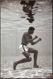Mohammed Ali bokst onder water Kunstdruk geperst op hout