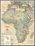 Carte de l'Afrique haut de gamme - National Geographic Affiche montée sur bois