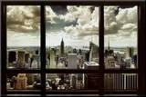 New York Window Mounted Print