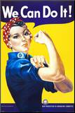 We Can Do It! (Rosie the Riveter) Kunstdruk geperst op hout van J. Howard Miller