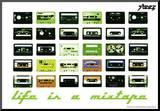 Steez Life Is A Mixtape - Green Art Print Poster Reprodukce aplikovaná na dřevěnou desku