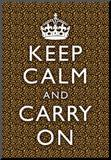 Keep Calm and Carry On Leopard Print Poster Mounted Print