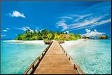 Summer Holidays Island Beach Art Poster Print Mounted Print