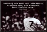 Mickey Mantle Home Run Quote Sports Poster Lámina montada en tabla