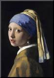 Flicka med pärlörhänge, konsttryck, affisch Monterat tryck