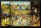 Hieronymus Bosch Garden of Earthly Delights Art Print Poster Reprodukce aplikovaná na dřevěnou desku